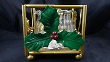 Vintage Christmas Holly & Berry Candle Holder Gold Metal Indiana Glass Jar Decor