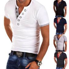 Herren T-Shirt mit Knopfleiste Knöpfe V-Ausschnitt Slim Fit kurzarm Oberteil 2XL