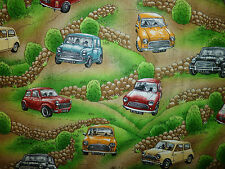 CLEARANCE FQ MINI CARS VEHICLE TRAFFIC FABRIC KITSCH ROADS TRAVEL HILLS