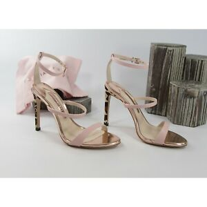 Sophia Webster Rosalind Pink Leather Leopard Calf Hair Heels Size 39.5 9.5 NIB
