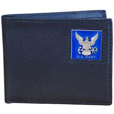 navy logo emblem leather bi-fold wallet made in usa