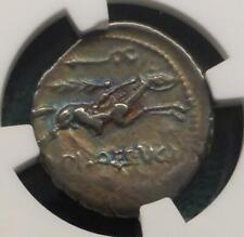 L. C. Piso Frugi Roman Republic Ar Denaius Ancient, 90 Bc Ngc Vf, Apollo Obverse