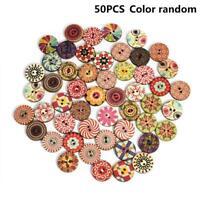 50x Blume Bild Holzknopf 2 Löcher Mischfarbe Bekleidung Nähen Geschenk DIY T0H0