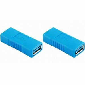 2-PACK USB 3.0 Type A Female to Female Adapter Coupler Gender Changer Connector
