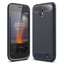 Nokia 1 carcasa TPU FIBRA DE CARBONO óptica Cepillado Cubierta móvil PARACHOQUES