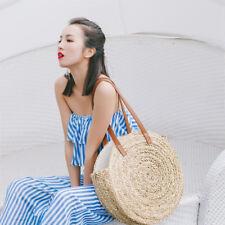 CN_ Women Straw Braided Round Beach Bag Handbag Shoulder Shopping Travel _GG