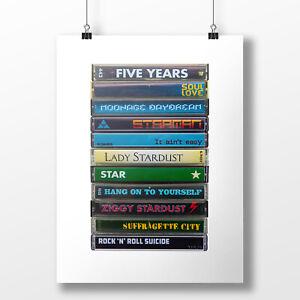 Bowie Fan Singles Albums /& Rarities. Gift Original Cassette Poster Fine Art Print David Bowie