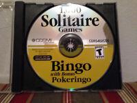 1,000 Solitaire games : Bingo with bonus Pokeringo PC Disc & replacement case