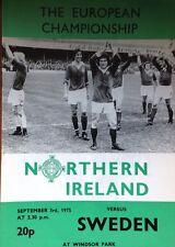 Northern Ireland verses Sweden The European Championship 3.9.1975