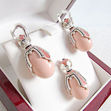 SUPERB EARRINGS & PENDANT SET STERLING SILVER 925 with GENUINE CORAL &  ENAMEL