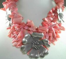 Statement Coral Necklace with 3 Thai Silver Flowers Handcrafted Jewelry
