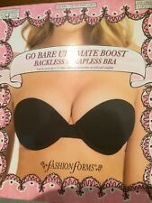 Fashion Forms Go Bare Black Ultimate Boost Backless Strapless Bra, Sz DD