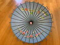 Vintage Rare Hand Painted Oriental Bamboo Parasol Umbrella