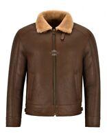 Men's B3 Shearling Jacket Camel Real Sheepskin Bomber Vintage Effect Jacket RALF