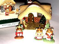 HALLMARK Keepsake 1995 A MOUSTERSHIRE CHRISTMAS ORNAMENT Set of 4 MINI DISPLAY