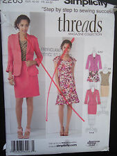 Simplicity 2263 Threads Magazine Collection Misses' Top,Jacket and Skirts
