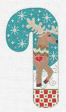 SP.ORDER ~ Danji MED. Candy Cane Reindeer with Snowflakes HP Needlepoint Canvas