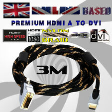 PREMIUM BRAIDED DVI-D -to- HDMI A CABLE/LEAD / SINGLE LINK HDMI v1.3 (3 METRES)