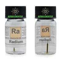 Radium watch hands check source of Ra element sample in labeled glass vial
