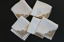 Five off-white napkins with taupe embroidered corner. Weddings,high teas etc.