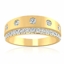 14K Yellow Gold Certified 0.74Ct Natural Diamond Bands Mens Rings Size T