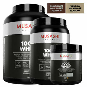 MUSASHI 100% Whey Protein Powder Choose 330g 900g 2KG & Chocolate OR Vanilla