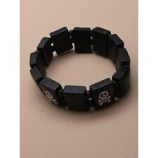 NEW Black wooden skull and crossbones bracelet fashion jewellery mens unisex