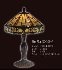 Tiffany Lampe sechseckige Tischlampe, Bordüre gelb, ocker, rot, petrol neu T37M