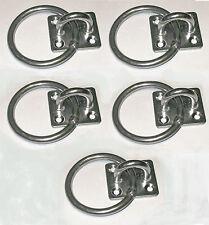 Ring auf Platte Marine Farm Reiter Seil Einfassung 6mm Edelstahl x 5 ringp01/5