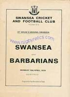 SWANSEA v BARBARIANS 1976 RUGBY PROGRAMME
