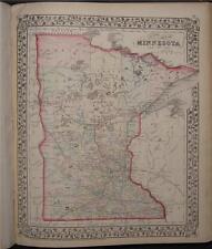 1874 Original Antique Mitchell County Map Minnesota MN