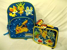 "Pokemon Pikachu 16"" Backpack with 3D Pikachu + Friends Lunchbox-Brand New!"