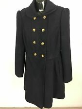 WOMENS DOROTHY PERKINS NAVY DOUBLE BREASTED LONG FITTED WARM WINTER COAT UK 12