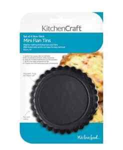 KitchenCraft Tart Tartlet Flan Quiche Tins Fluted Loose Base 10cm NonStick Set 4