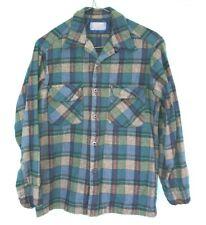 Vintage 50s 60s Pendleton Plaid Wool Board Shirt Loop Collar Flap Pocket S