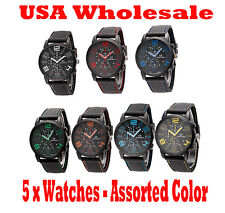 5 x GT Black Stainless Steel Luxury Sport Mens Watch Assorted Color - Wholesale