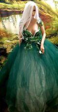 AMEENAH Green & White Afghan Inspired Bridal Wedding Ballgown Set