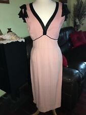 ~ELEGANT~STOP STARING ~PINK WITH BLACK SATIN EMPIRE DRESS SIZE XLARGE