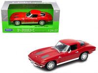 1963 Chevrolet Corvette Red 1:24 Diecast Model - Welly 24073RD *