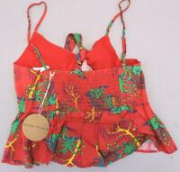 Honey Punch Women's Tie Front Cami Top In Tropical Print SD8 Red Medium NWT