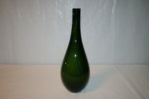 "16"" Green & Black Striped ""Jungle Nights"" Hand Blown Glass Flower Vase"