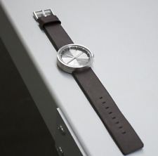 NEW LEFF AMSTERDAM TUBE WATCH D42 WITH BROWN LEATHER STRAP ANALOG DISPLAY STEEL