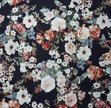 Cotton Twill Spandex Fabric Vintage Flower Print by the Yard 4 Way Stretch 12/16