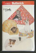 Butterick Sewing Pattern 5903 Pet Bed Pillbox Cozy Critters Cat Dog House Uncut