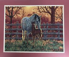 """Quiet Time Finished Needlepoint Picture 18x22"""" Horses Paddock Foal 06416 Fall"""