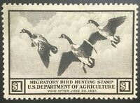 RW3 US Duck Stamp Mint, OG, LH, F/VF SCV $150