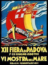 EXHIBITION CULTURAL REGATTA SAIL SEA BOAT PADOVA ITALY VINTAGE POSTER 1737PYLV