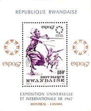 RWANDA 1967 CANADA MONTREAL EXPO S/S MNH MUSIC COSTUMES DANCING WARRIOR, ARCHERY