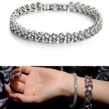 Silber Kristall Strass Tennis Armband Herz Diamant mit Swarovski Kristall
