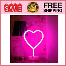 Led Heart Sign Night Light,Neon Heart Shaped Decor Light with Holder